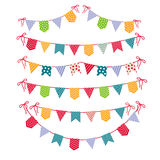 Festive garlands isolated on white background. Carnival party flags garland set vector illustration. Colored flag decoration for celebration party Stock Image