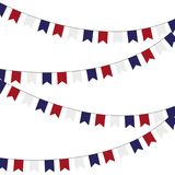 Festive garlands of red blue flags on a white background. Festive garlands of red blue flags on a white background Stock Photo