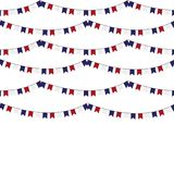 Festive garlands of red blue flags on a white background. Festive garlands of red blue flags on a white background Stock Image