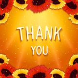 Festive gentle wishes thank you. Festive greeting card with wishes thank you on background shinning rays of light and gerbera flowers. Vector eps 10 Stock Photos