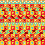 Festive Geometric Seamless Pattern. Seamless geometric ethnic pattern. Abstract tribal ornament. Endless bighr background Stock Images
