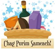 Festive Purim Basket with Snacks, Wine Bottle and Greeting Scroll, Vector Illustration. Festive gift basket for charity or gift to friends, full with snacks and Royalty Free Stock Photography