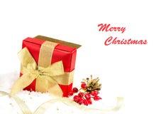 Festive gift bos  on white background Stock Photo