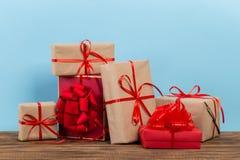 Festive gift box on blue backg royalty free stock photos