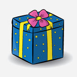 Festive gift box blue. Festive gift box blue with stars Royalty Free Stock Images