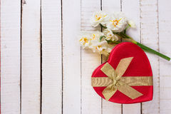 Festive gift box and flowers Royalty Free Stock Images