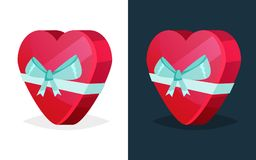 Festive gift in box in form heart with colored ribbon. Merry Christmas gift. Gift boxes with bows and ribbons. Birthday, Valentine s day. Festive gift in box in Stock Photo