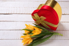 Festive gift box with fresh tulip flowers on white painted woode. N planks. Selective focus. Place for text Stock Photos