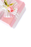 Festive Gift box with a silver bow and rose Stock Photo