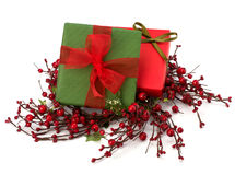 Festive gift box stack Royalty Free Stock Images