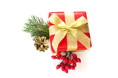 Festive gift box  on white background Royalty Free Stock Image