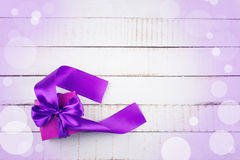 Festive gift box on wooden background Stock Photography