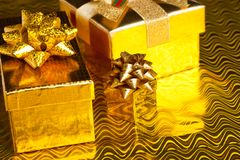 Festive gift boxes Royalty Free Stock Images