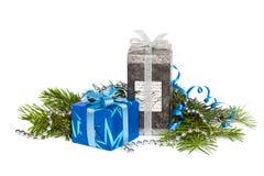 Festive gift boxes royalty free stock photo