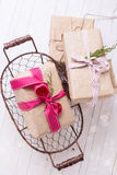 Festive gift boxes Royalty Free Stock Image