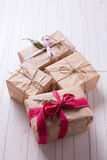 Festive gift boxes Stock Photo