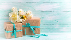 Festive gift boxes with ribbon and flowers Stock Image