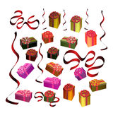 Festive gift boxes. Set of festive gift boxes with colorful bows and ribbons Stock Photography