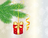 Festive gift hangs on the green branch of tree. Vector  illustration Royalty Free Stock Image