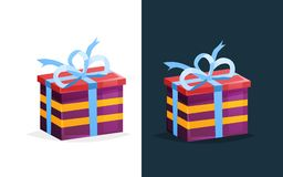 Festive gift in rectangular box with colored pattern and ribbon. Merry Christmas gift. Gift boxes with bows and ribbons. Birthday, Valentine s day. Festive gift Stock Photography