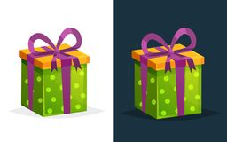 Festive gift in rectangular box with colored pattern and ribbon. Royalty Free Stock Photography