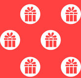 Festive gift. Red pattern with white circles.  Royalty Free Stock Images