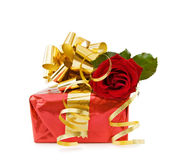 Festive gift with red rose Stock Image