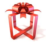 Festive gift ribbon and bow, box shaped 3D. Festive gift ribbon and bow, box shaped, 3D rendering isolated on white Stock Photos