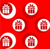 Festive gift. White pattern on a red background.  Stock Photography