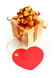 Festive Giftbox. Composition on the subject of Valentine's Day. 3D rendered graphics on white background Stock Photos