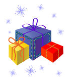 Festive gifts. Festive gift set. Vector illustration Stock Photography