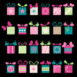 Festive gifts and bows. 24 various graphic box for your design isolated on black background. Gifts and background are on separate layers. EPS 8 Royalty Free Stock Photos