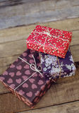 Festive gifts on wooden background Royalty Free Stock Photography