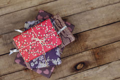 Festive gifts on wooden background. Top view Stock Photo