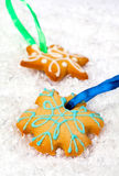Festive gingerbreads and Christmas decor stock images