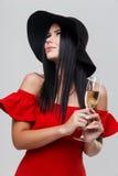 Festive girl in black hat Royalty Free Stock Photo