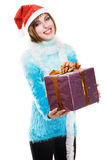 Festive girl with Christmas gift Stock Images