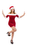 Festive girl posing with hands Stock Photo