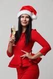 Festive girl in Santa hat Stock Photo