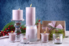 Festive glamorous holiday Christmas table setting with pink cand Royalty Free Stock Images