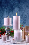 Festive glamorous holiday Christmas table setting with pink cand Royalty Free Stock Photography