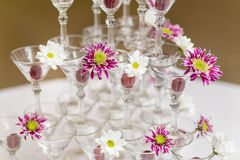 Festive glasses with flowers Royalty Free Stock Images