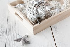 Festive glitter christmas decoration bauble seasonal winter holidays Stock Photo