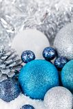 Festive glitter christmas decoration silver blue Royalty Free Stock Photo