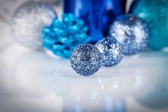 Festive glitter christmas decoration silver blue Royalty Free Stock Photos