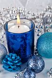 Festive glitter christmas decoration silver blue Royalty Free Stock Photos