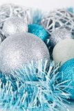 Festive glitter christmas decoration silver blue Stock Photography
