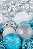 Festive glitter christmas decoration silver blue Royalty Free Stock Photography