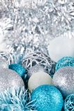 Festive glitter christmas decoration silver blue Royalty Free Stock Images