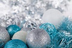 Festive glitter christmas decoration silver blue Stock Images